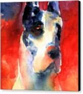 Harlequin Great Dane Watercolor Painting Canvas Print by Svetlana Novikova