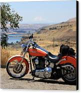 Harley With Columbia River And Mt Hood Canvas Print