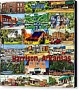Harrison Arkansas Collage Canvas Print by Kathy Tarochione