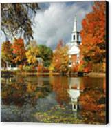 Harrisville New Hampshire - New England Fall Landscape White Steeple Canvas Print