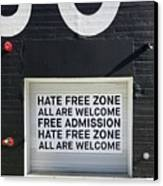 Hate Free Zone Canvas Print