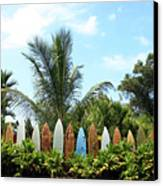 Hawaii Surfboard Fence Canvas Print by Michael Ledray