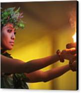 Hawaiian Dancer And Firepots Canvas Print