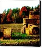 Hay Bail Tractor  Canvas Print by Marsha Heiken