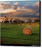 Haybales At Dusk Canvas Print by Melinda Swinford