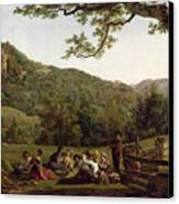 Haymakers Picnicking In A Field Canvas Print by Jean Louis De Marne