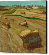 Haystacks In Moravia Canvas Print