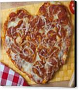 Heart Shaped Pizza Canvas Print by Garry Gay