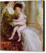 Helene Fourment And Her Son Frans Canvas Print by Rubens