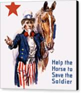 Help The Horse To Save The Soldier Canvas Print by War Is Hell Store