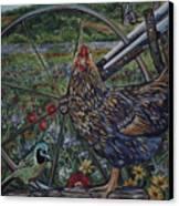 Hen And Plow Wheel Canvas Print