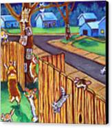 Herding Cats - Pembroke Welsh Corgi Canvas Print by Lyn Cook