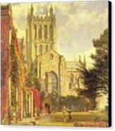 Hereford Cathedral Canvas Print by John William Buxton Knight