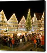 Herrenberg Christmas Market At Night Canvas Print by Greg Dale