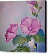 Hibiscus Birdie Canvas Print