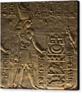 Hieroglyph At Edfu Canvas Print by Darcy Michaelchuk