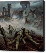 Highlanders Advancing To Caen Canvas Print