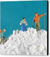 Hiking On Flour Snow Mountain Canvas Print