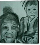 Hill Tribe Lady And Child Canvas Print