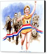 Hillary And The Race Canvas Print by Ken Meyer jr
