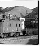 Historic Niles Trains In California . Southern Pacific Locomotive And Sante Fe Caboose.7d10843.bw Canvas Print by Wingsdomain Art and Photography