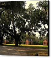 Historic Slave Houses At Boone Hall Plantation In Sc Canvas Print by Susanne Van Hulst