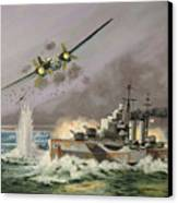 Hms Ulysses Attacked By Heinkel IIis Off North Cape Canvas Print