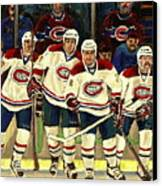 Hockey Art The Habs Fab Four Canvas Print by Carole Spandau