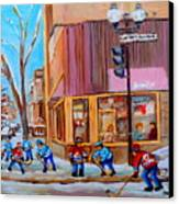 Hockey At Beautys Deli Canvas Print by Carole Spandau