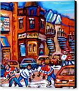 Hockey At Fairmount Bagel Canvas Print