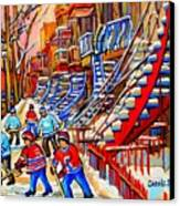 Hockey Game Near The Red Staircase Canvas Print by Carole Spandau