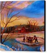 Hockey Game On Frozen Pond Canvas Print