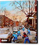 Hockey Gameon Jeanne Mance Street Montreal Canvas Print