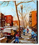 Hockey On St Urbain Street Canvas Print