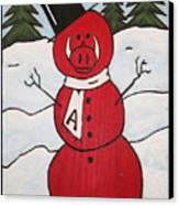 Hog Snowman Canvas Print