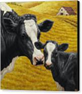 Holstein Cow And Calf Farm Canvas Print by Crista Forest