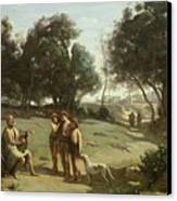 Homer And The Shepherds In A Landscape Canvas Print by Jean Baptiste Camille Corot