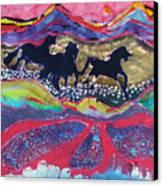 Horses Running Thru A Stream Canvas Print by Carol  Law Conklin