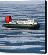 Hovercraft On Frozen Artic Ocean Canvas Print