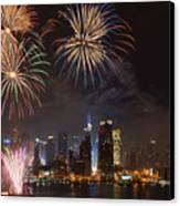 Hudson River Fireworks Iv Canvas Print by Clarence Holmes