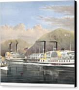 Hudson River Steamships Canvas Print by Granger