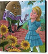 Humpty Dumpty On Wall With Alice Canvas Print