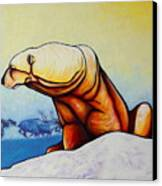 Hunger Burns - Polar Bear And Caribou Canvas Print