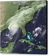Hurricane Katrina Over Southeast Canvas Print by Everett