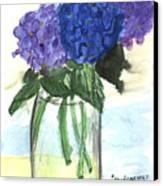 Hydangeas On The Table Canvas Print