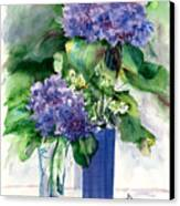 Hydrangeas In Vases Canvas Print