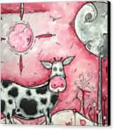 I Love Moo Original Madart Painting Canvas Print
