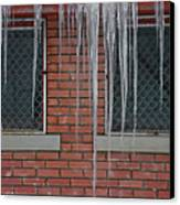 Icicles 2 - In Front Of Windows Off Red Brick Bldg. Canvas Print