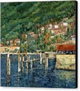 il porto di Bellano Canvas Print by Guido Borelli