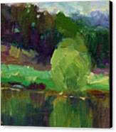 Impressionistic Oil Landscape Lake Painting Canvas Print